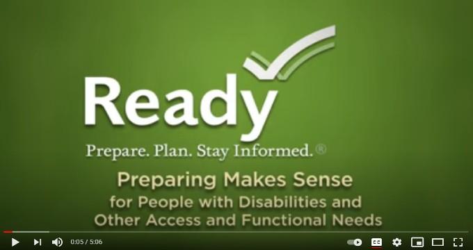 Ready Prepare. Plan, Stay Informed on a green screen